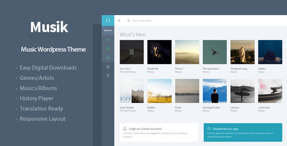 Musik responsive music wordpress theme by flatfull | themeforest.